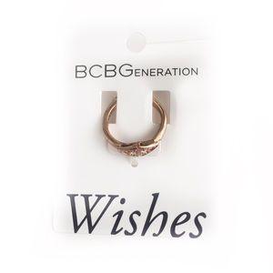 BCBGENERATION RING ROSE GOLD FAUX DIAMOND BOHO